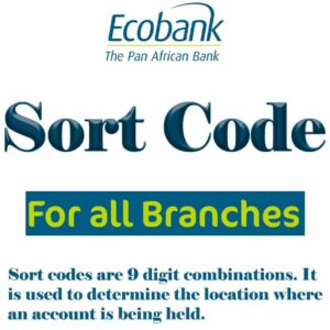 Ecobank Sort Code for all Branches in Nigeria