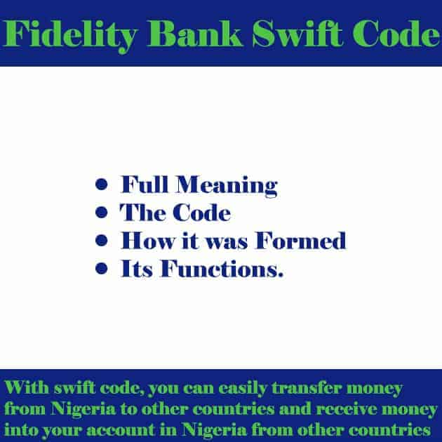 fidelity bank swift code