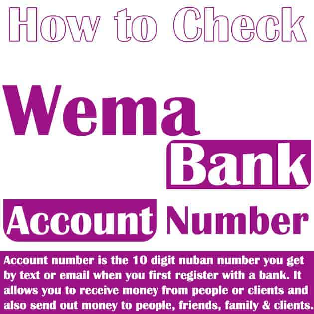 how to check wema bank account number