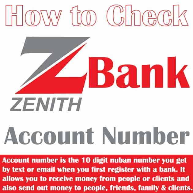 how to check zenith bank account number