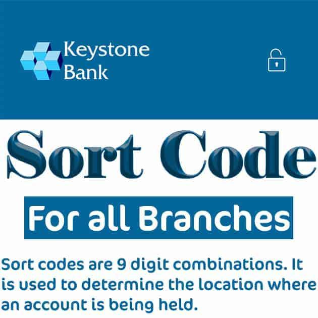 keystone bank sort code