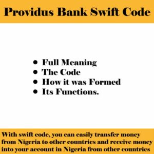 Providus Bank Swift Code For all Branches in Nigeria