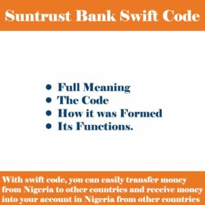 SunTrust Bank Swift Code for all Nigerian Branches