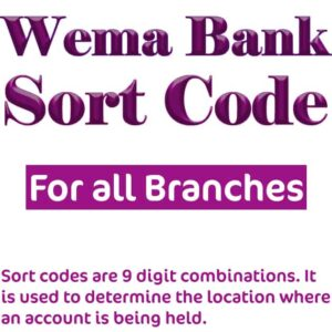 Wema Bank Sort Code for all Branches in Nigeria