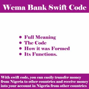 Wema Bank Swift Code for all its Branches