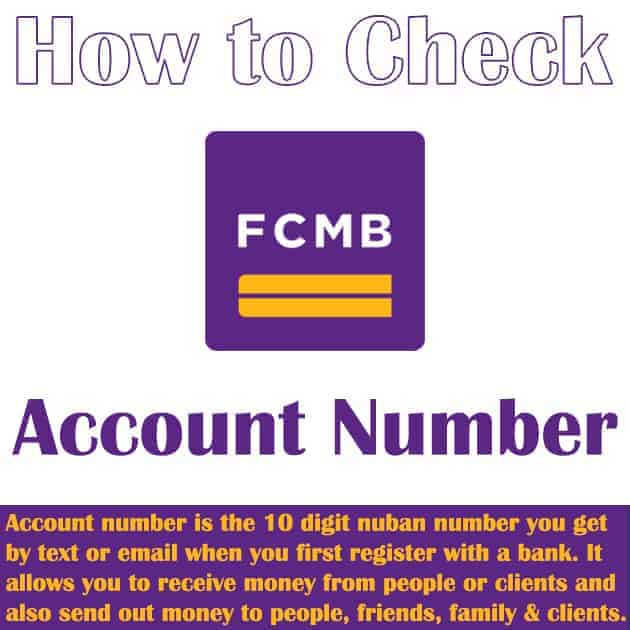 how to view fcmb account number