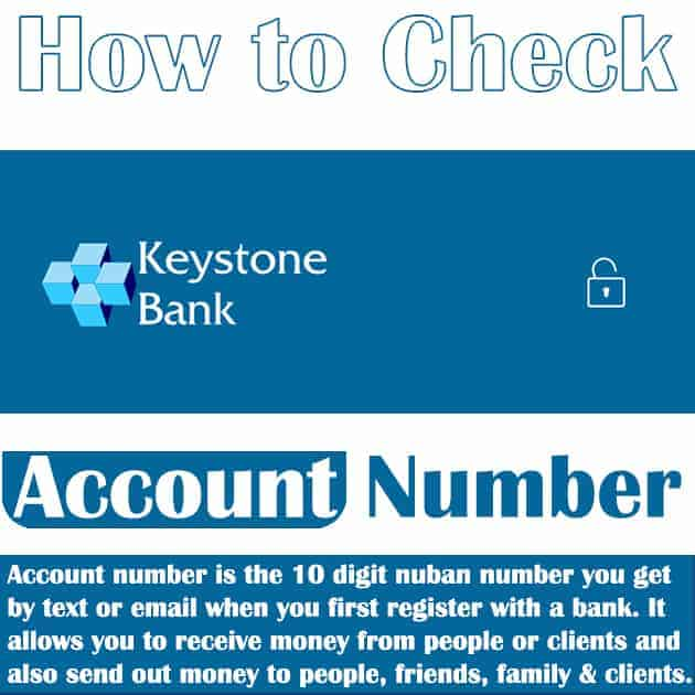 how to view keystone bank account number