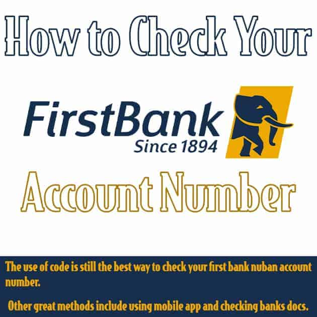 how to check first bank account number
